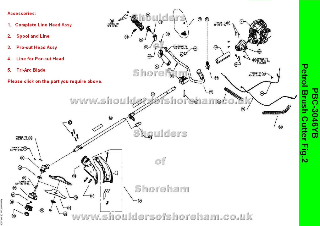 ryobi pbc 3046yb petrol brush cutter spares diagram spares. Black Bedroom Furniture Sets. Home Design Ideas