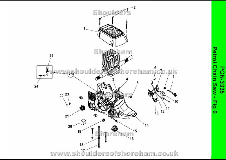 Electric Chainsaw Reviews >> Ryobi PCN3335 Petrol chainsaw spares diagrams Spares and Spare Parts