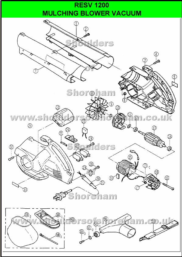 Ryobi RESV 1200 Spare Parts Diagrams Spares and Spare Parts