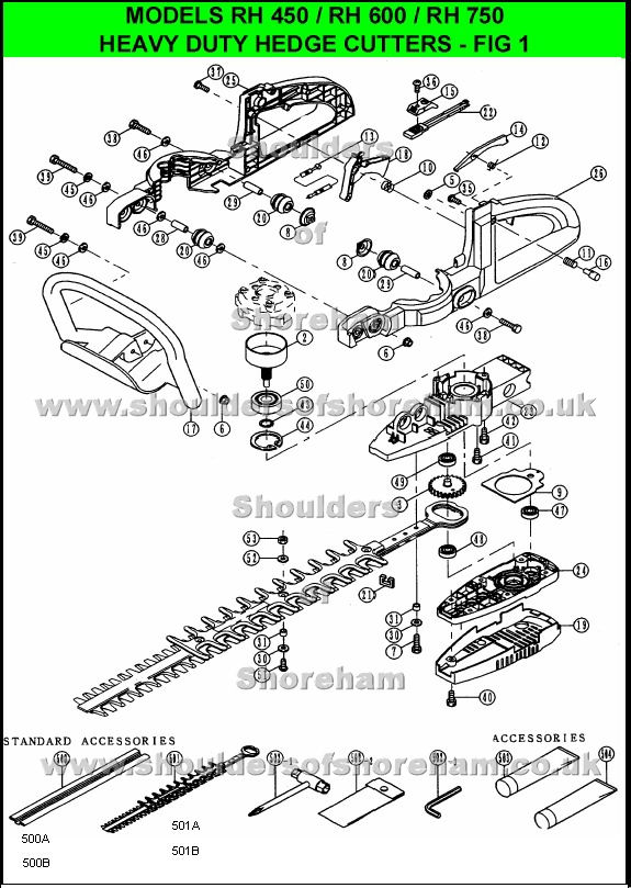 Ryobi Rh600 Hedge Trimmer Spares Diagram Spares And Spare