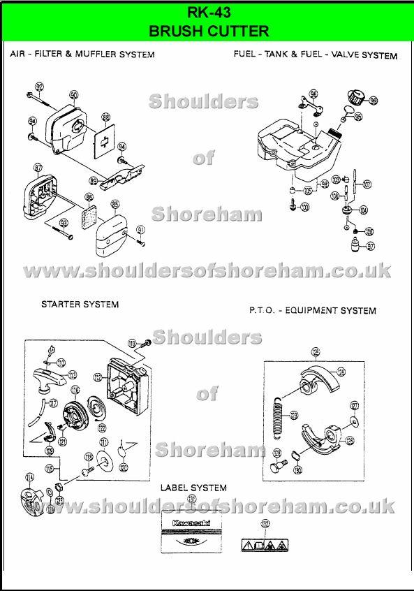 Ryobi Rk 43 Spare Parts Diagrams Spares And Spare Parts