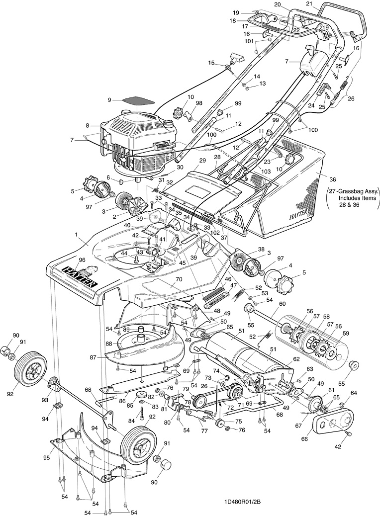 hayter harrier 48 - 480r001001 engine diagram for 3 1 engine