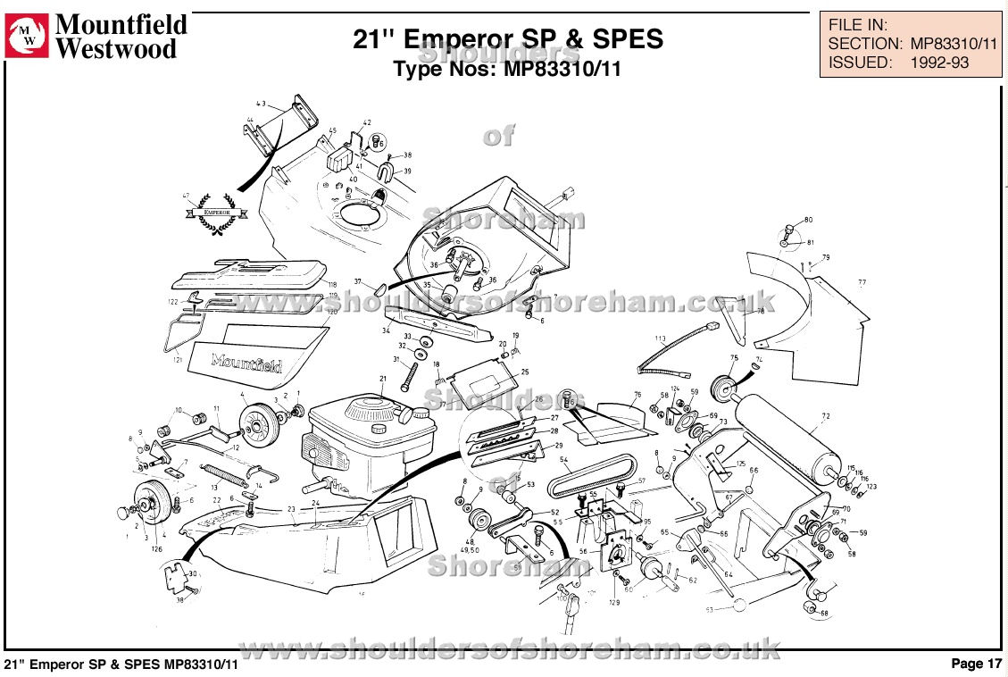 mp83310 mp83311 mountfield emperor 21 machine diagram for spare parts spares and spare parts