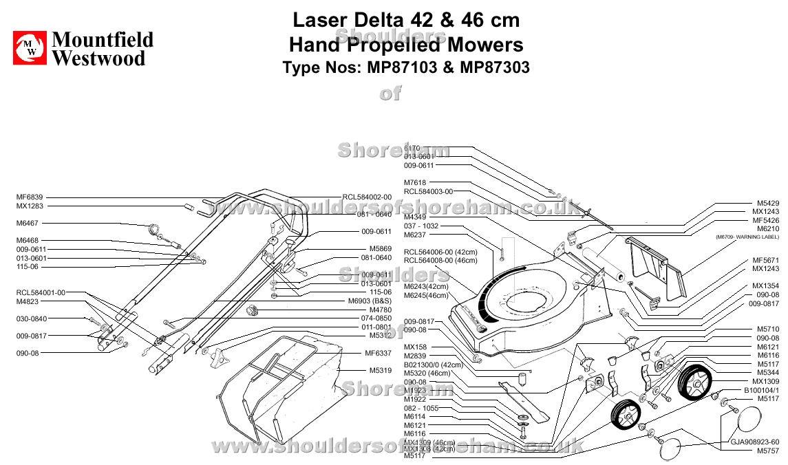 mp87103 mp87303 mountfield laser delta 42cm and 46cm machine diagram for spare parts  shoulders