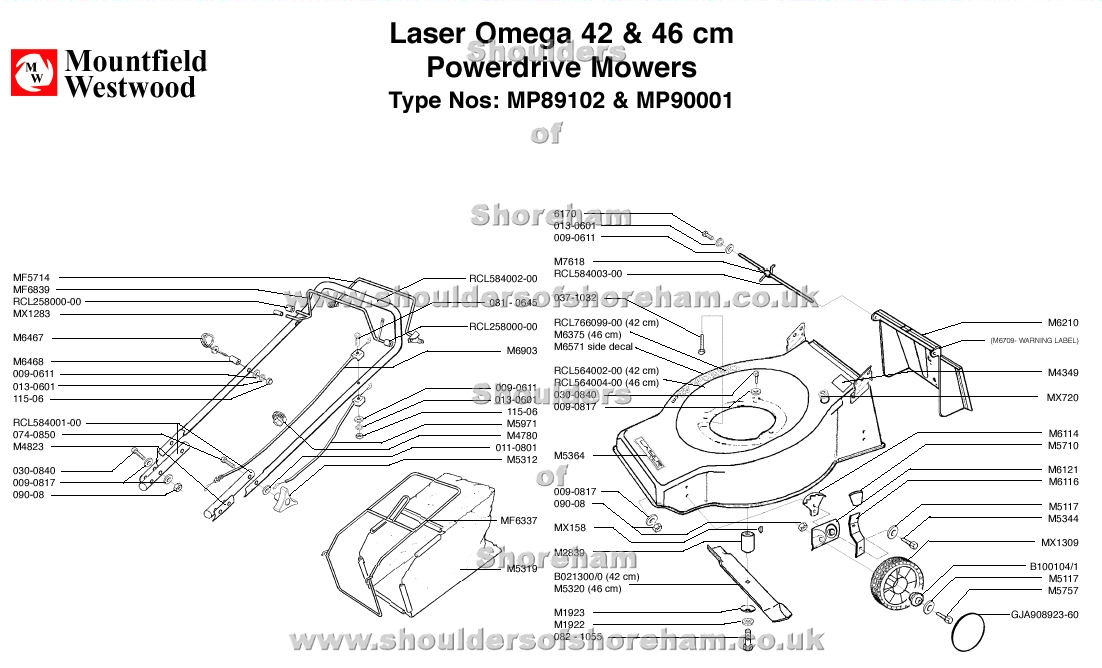 mountfield laser omega 42cm and 46cm power drive machine diagram for spare parts shoulders of