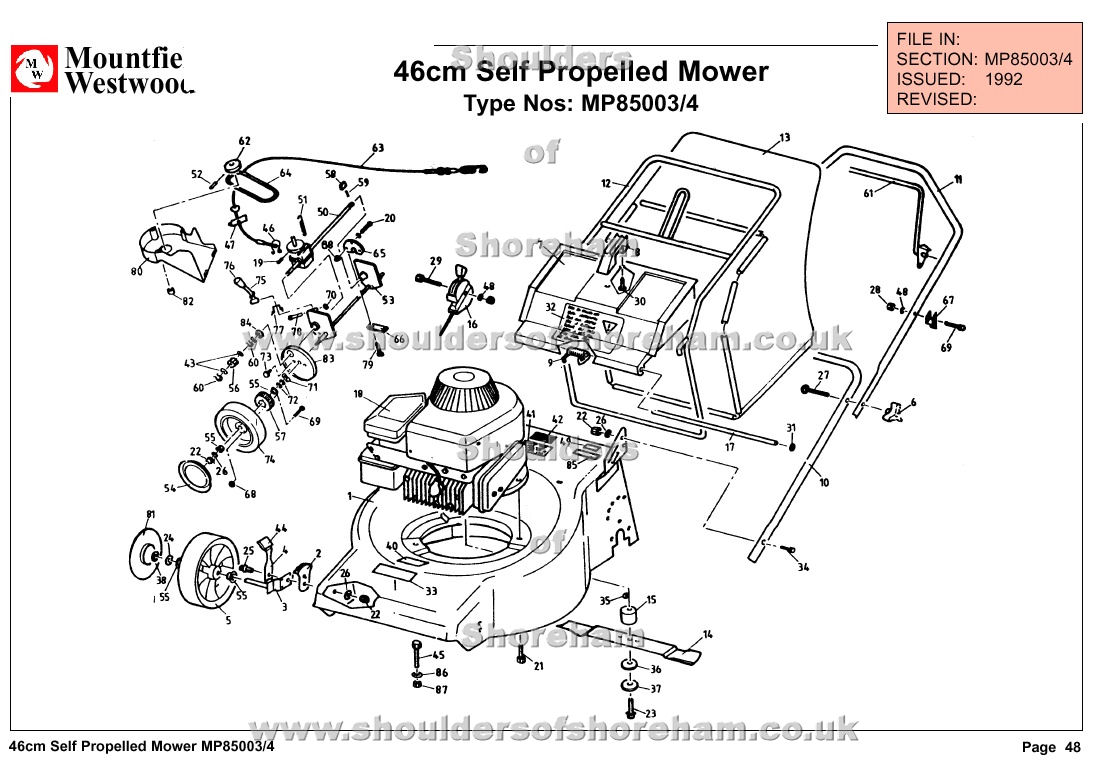mp85003 mp85004 mountfield laser mascot 46cm self propelled machine diagram for spare parts