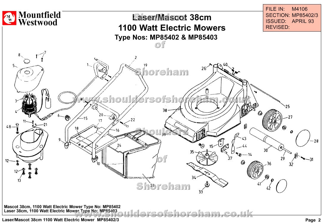 Mp85402 Mp85403 Mountfield Laser Mascot 38cm Machine