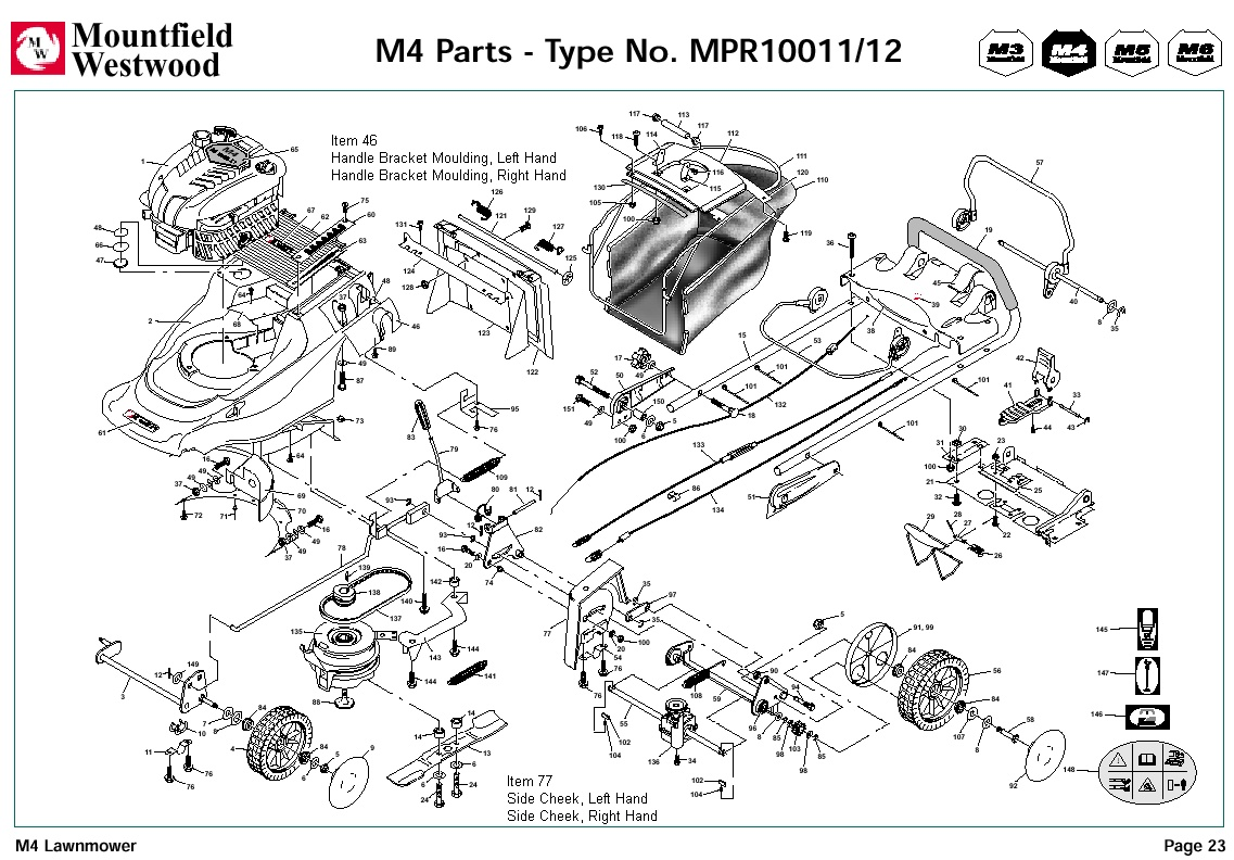 Mpr10011 Mpr10012 Mountfield M4 Pre 2002 Machine Diagram For Spare Parts Spares And Spare Parts