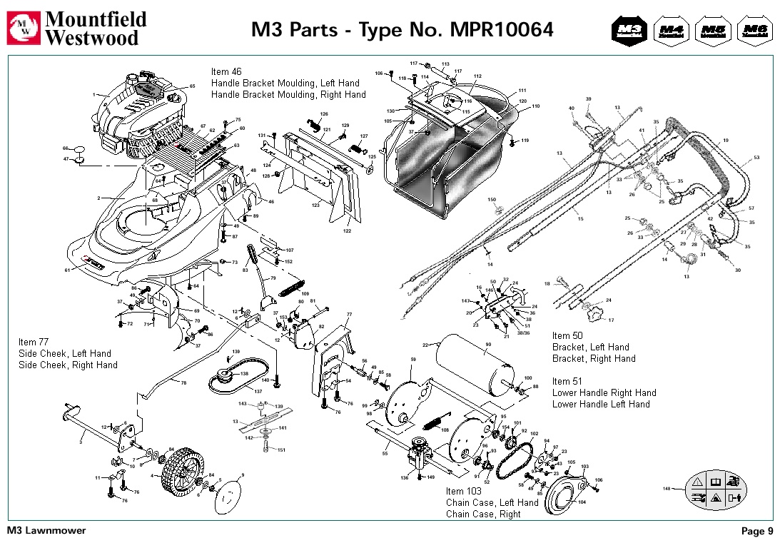 mpr10064 mountfield m3 pre 2002 machine diagram for spare parts spares and spare parts