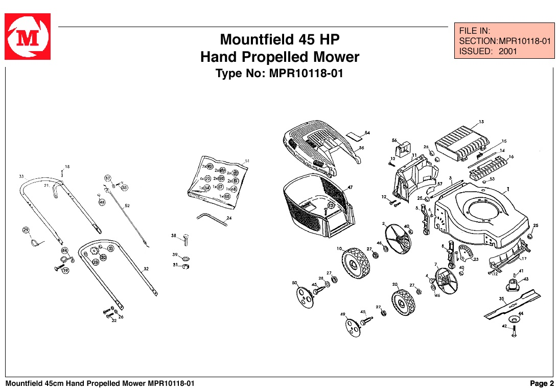 mountfield 45 hp lawnmower spares year 2000