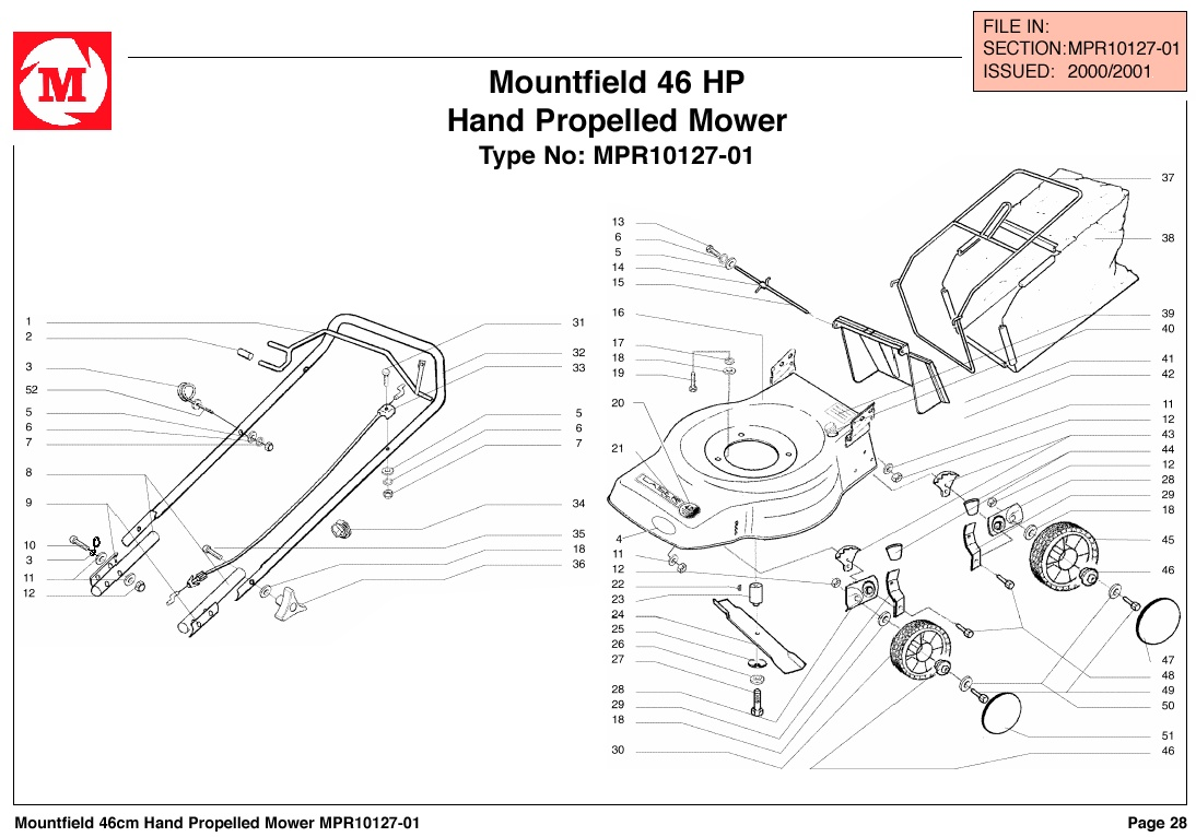 mountfield 46 hp lawnmower spares year 2000
