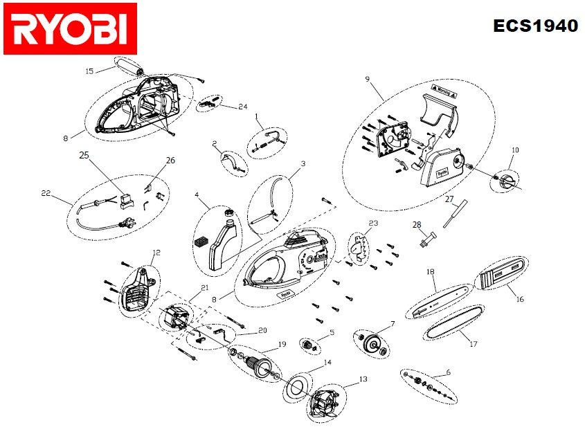 ryobi ecs1940 spares and spare parts diagrams spares and spare parts