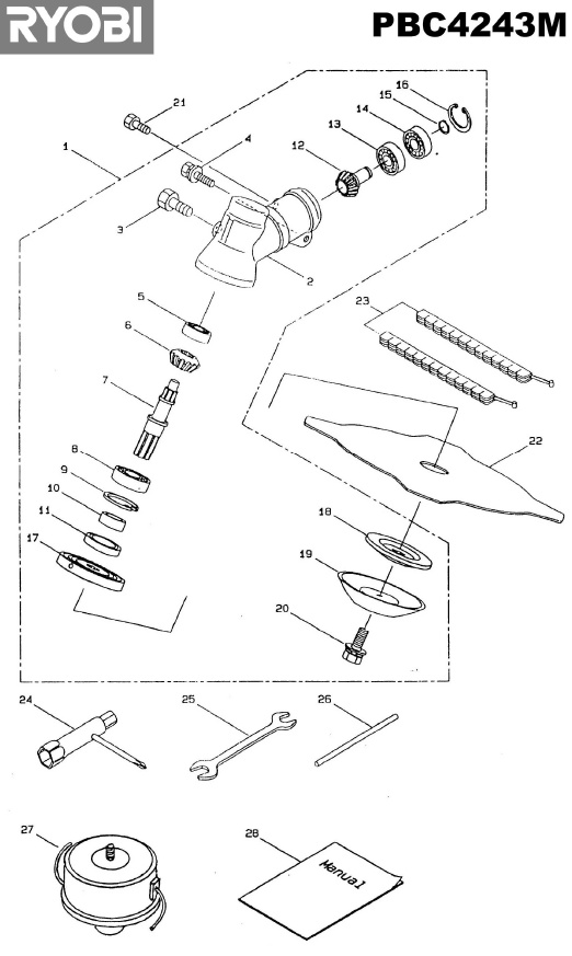 ryobi pbc4243m spares and spare parts diagrams spares and spare parts