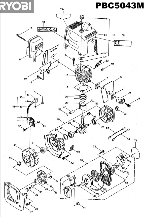 ryobi pbc5043m spares and spare parts diagrams spares and spare parts