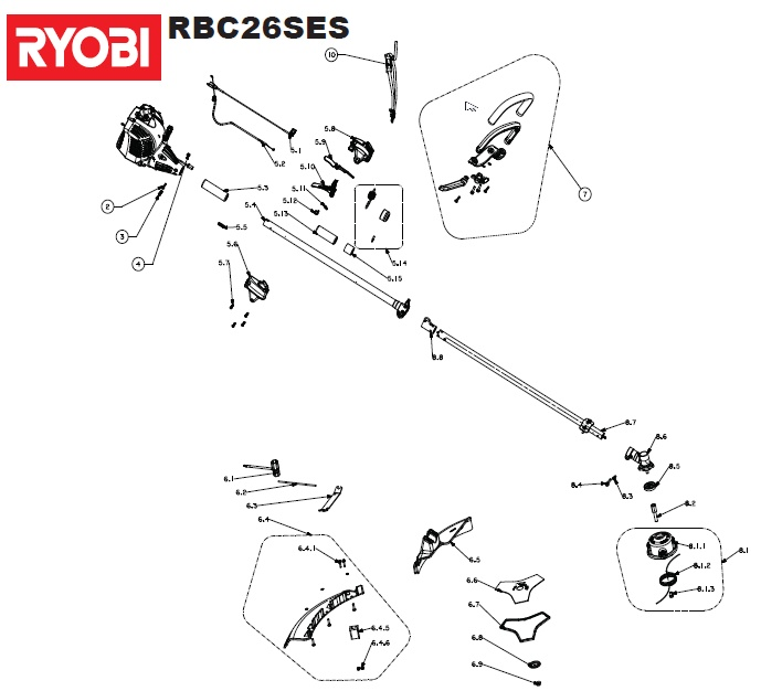 ryobi rbc26ses spares and spare parts diagrams spares and spare parts