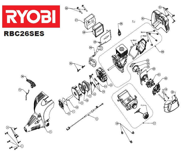 Ryobi RBC26SES Spares and Spare Parts Diagrams Spares and
