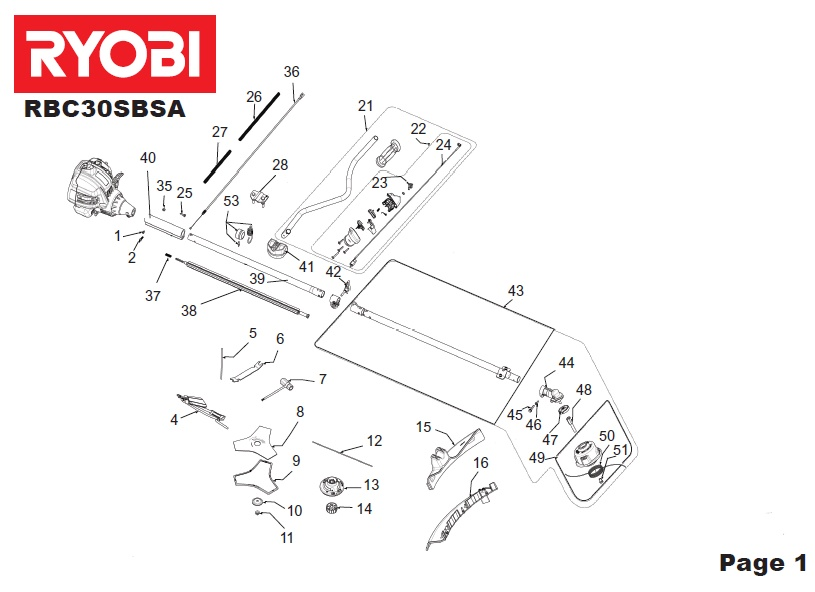 ryobi rbc30sbsa spares and spare parts diagrams spares and spare parts