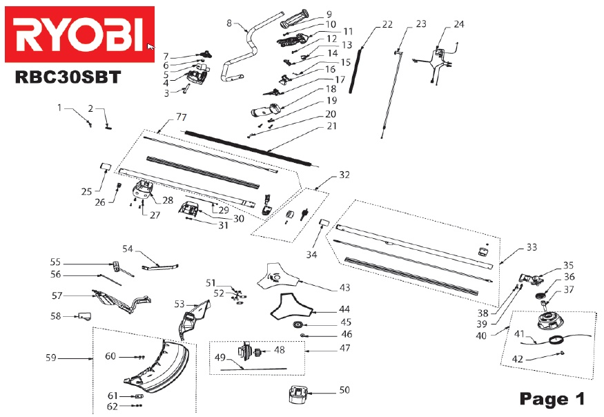 ryobi rbc30sbt spares and spare parts diagrams spares and spare parts