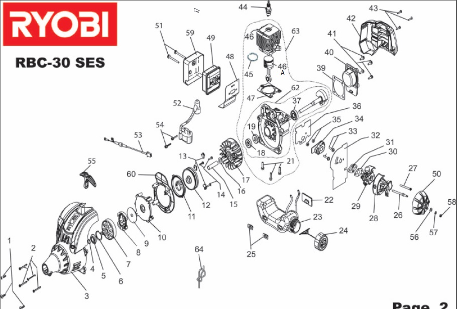 ryobi rbc30ses spares and spare parts diagrams spares and spare parts