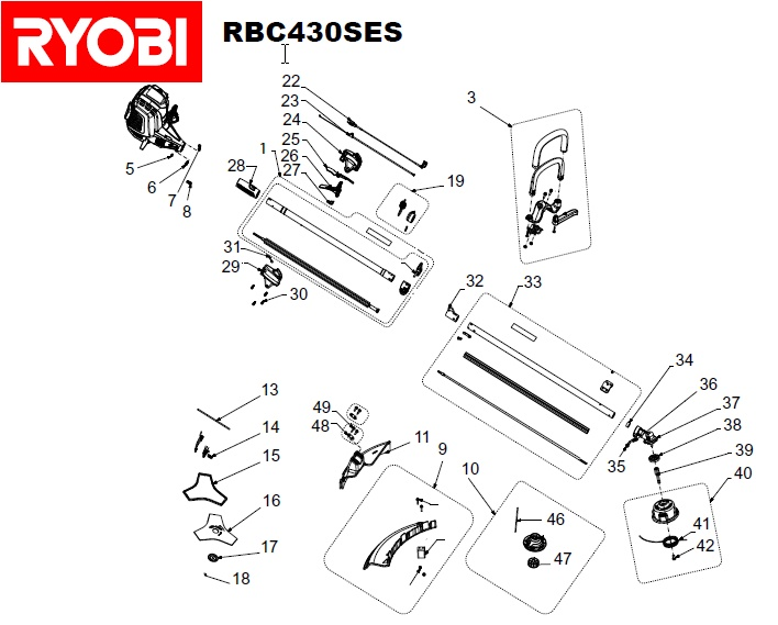 ryobi rbc430ses spares and spare parts diagrams spares and spare parts