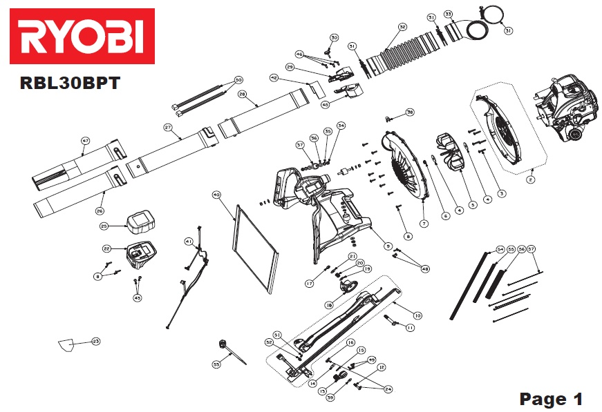 ryobi rbl30bpt spares and spare parts