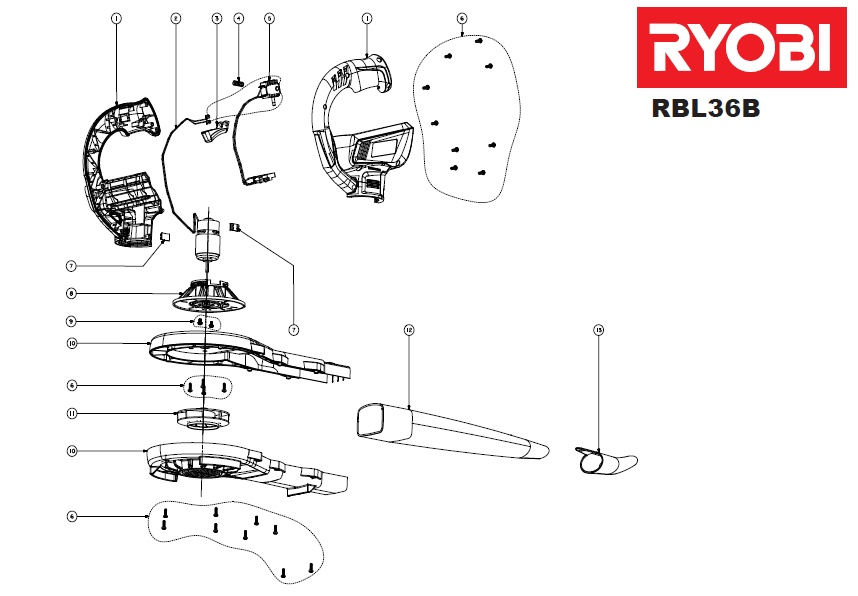 ryobi rbl36b spares and spare parts diagrams spares and spare parts