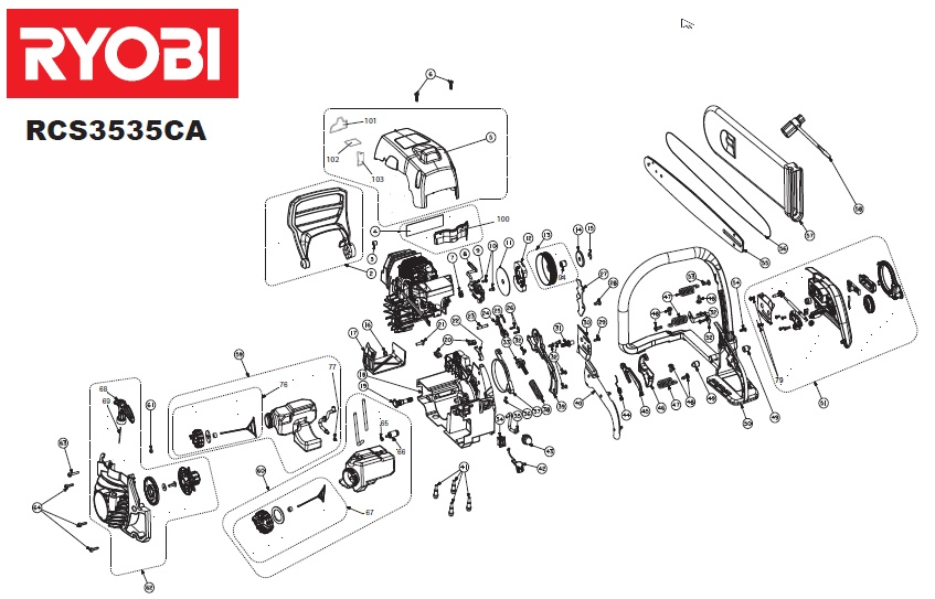 ryobi rcs3535ca spares and spare parts diagrams spares and spare parts