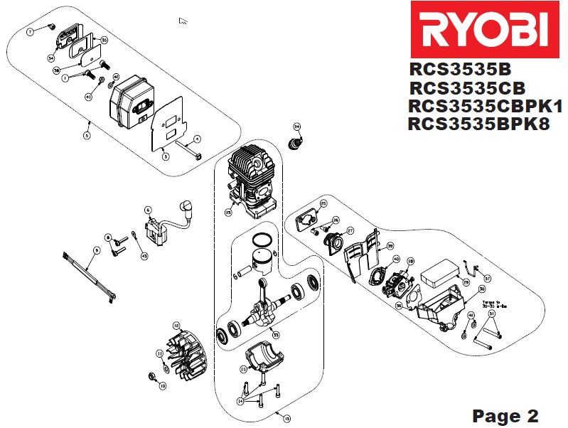 ryobi rcs3535cb spares and spare parts diagrams spares and spare parts