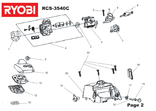 ryobi rcs3540c spares and spare parts diagrams spares and spare parts