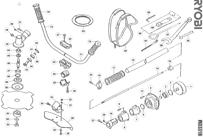 ryobi rd3318 spares and spare parts diagrams spares and spare parts