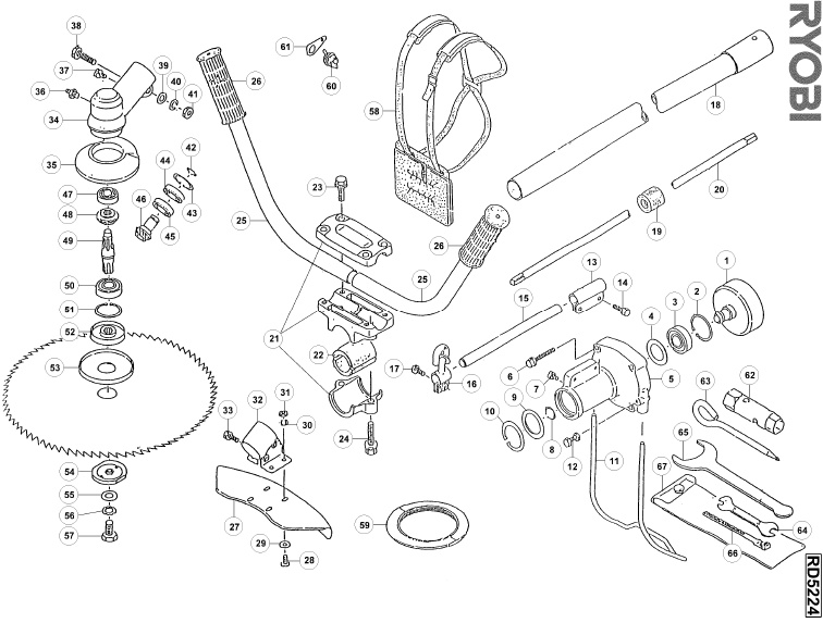 ryobi rd5224 spares and spare parts diagrams spares and spare parts