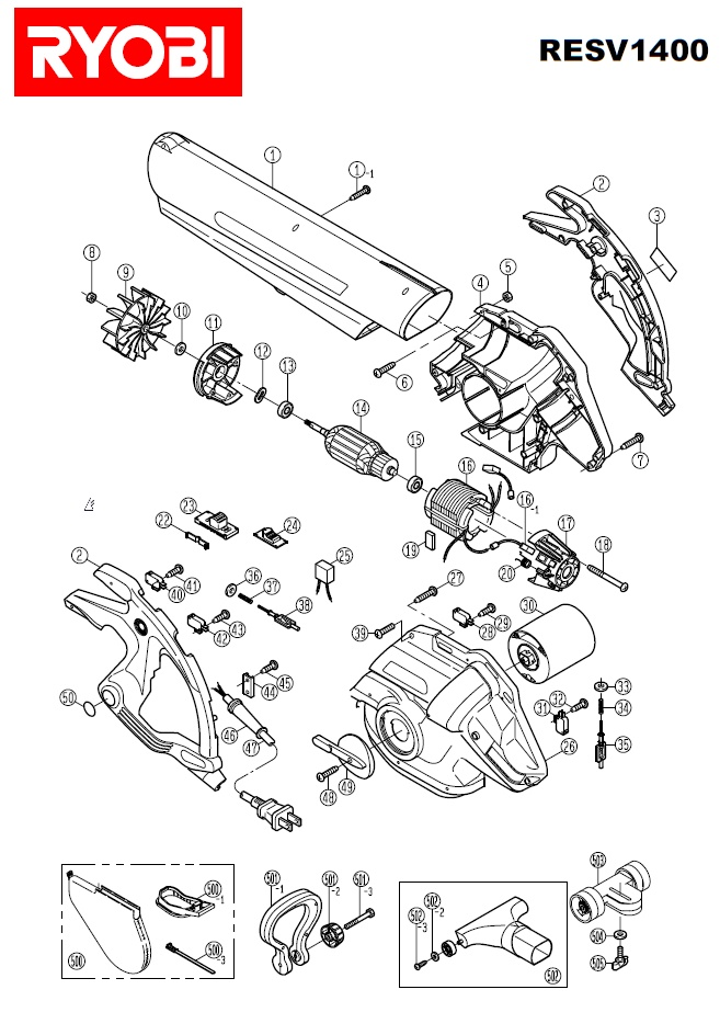 ryobi resv1400 spares and spare parts diagrams spares and spare parts