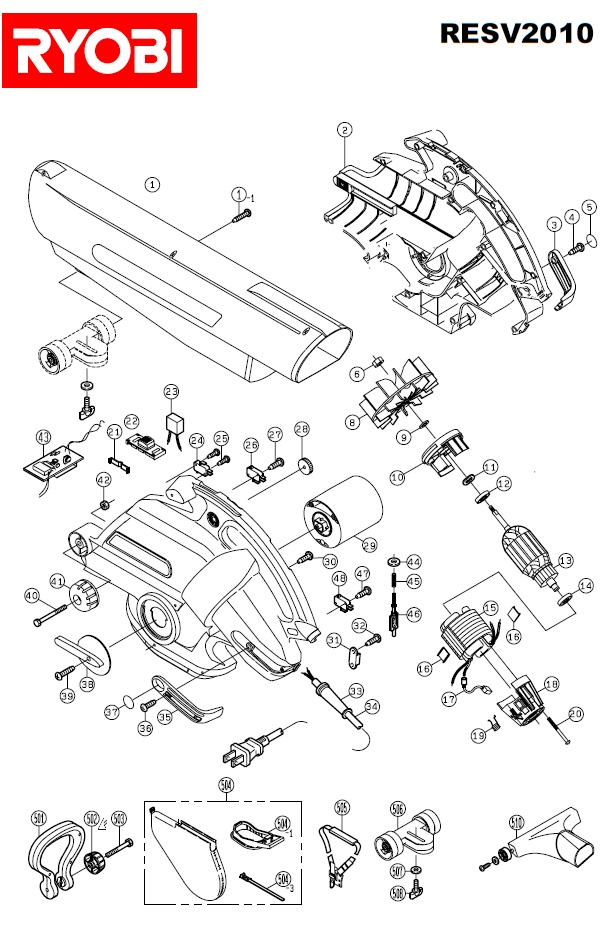ryobi resv2010 spares and spare parts diagrams spares and spare parts